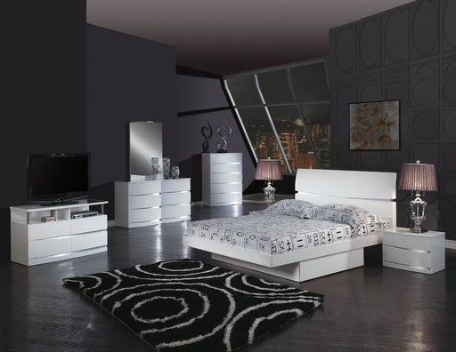 4pc Queen Modern White High Gloss Bedroom Set