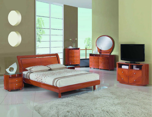 4pc Queen Modern Cherry High Gloss Bedroom Set