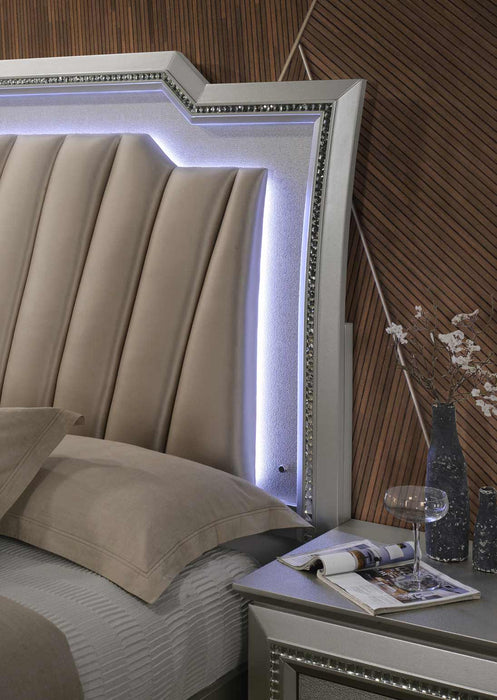 PU Champagne Wood Upholstered (HB) LED Eastern King Bed