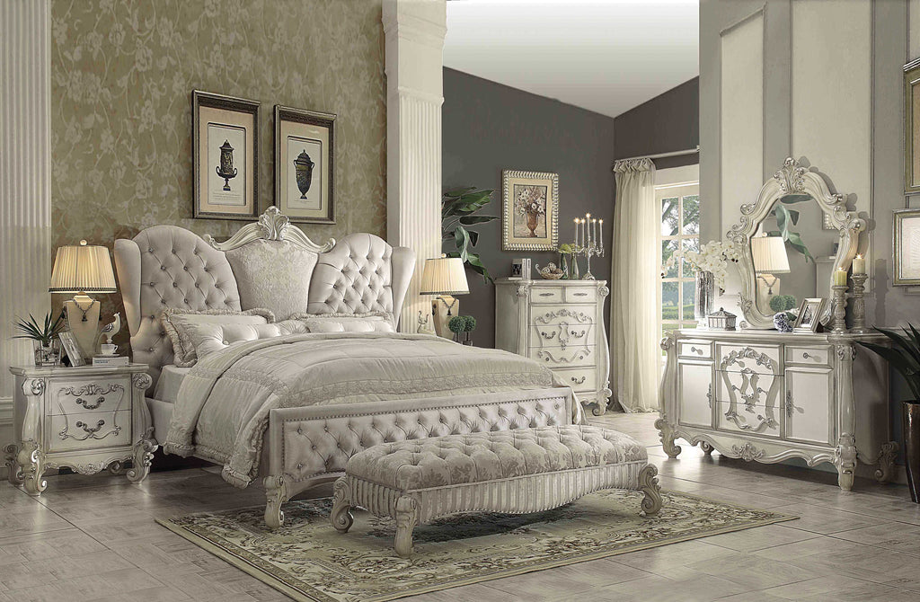 Upholstery And Poly Resin Eastern King Bed, Ivory Velvet & Bone White