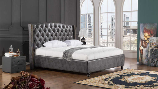 Leatherette Upholstered Wooden Queen Size Bed With Tufted Winged Headboard, Dark Gray