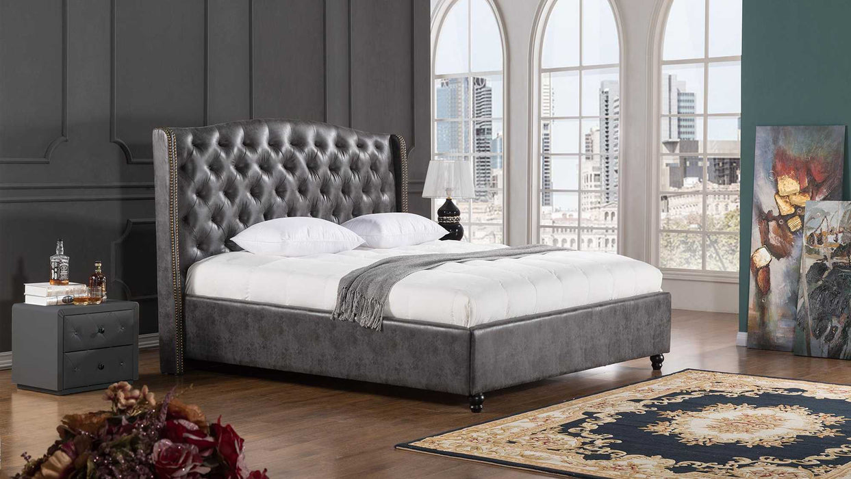 Leatherette Upholstered Wooden California King Size Bed With Tufted Winged Headboard, Dark Gray