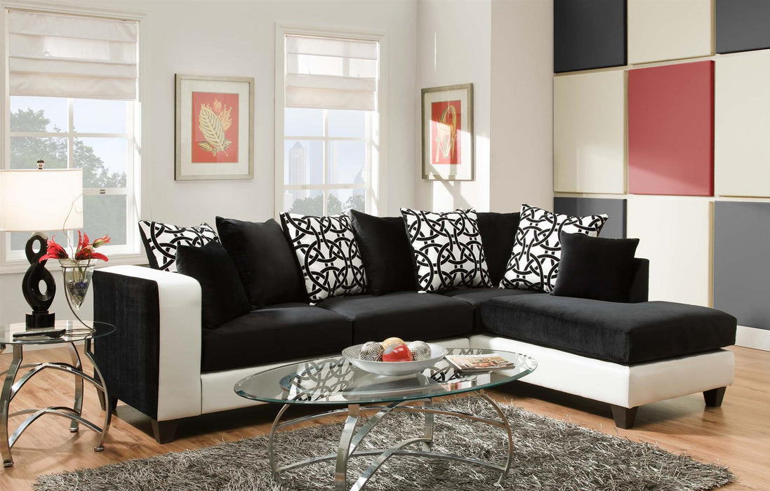 Implosion Black Olympia Velvet Sectional