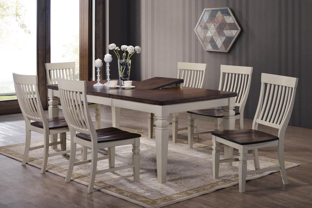Mocha Sand Hardwood 7 Piece Dining Set