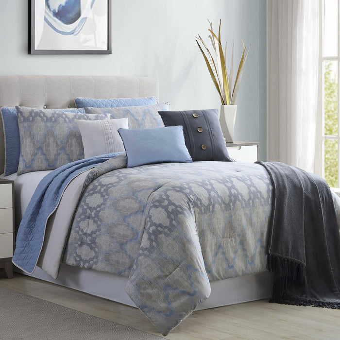 Microfiber Blue And Gray 10 Piece King Size Comforter And Coverlet Set