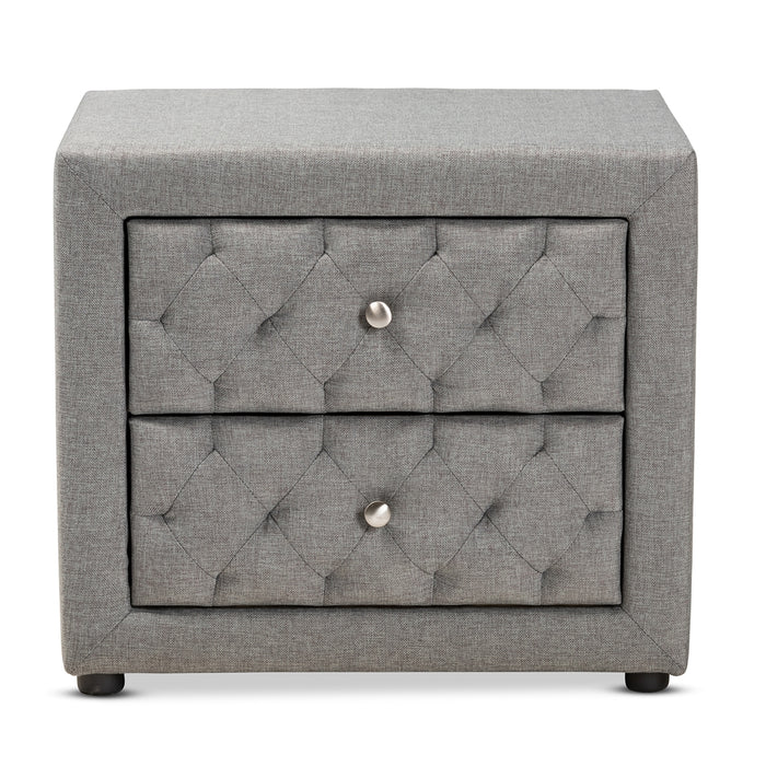 BAXTON STUDIO LEPINE MODERN AND CONTEMPORARY GRAY FABRIC UPHOLSTERED 2-DRAWER WOOD NIGHTSTAND