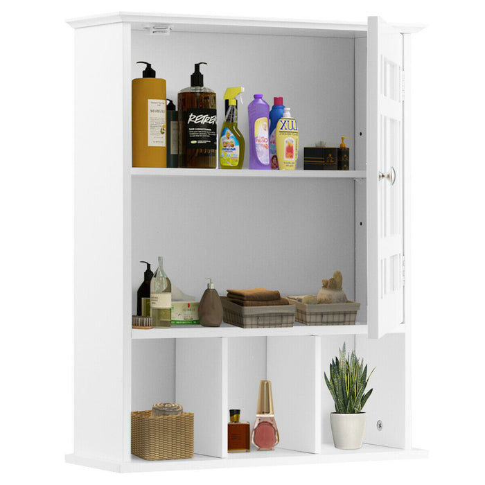 Wall-Mounted Bathroom Storage Cabinet Mirrored with Adjustable Shelf