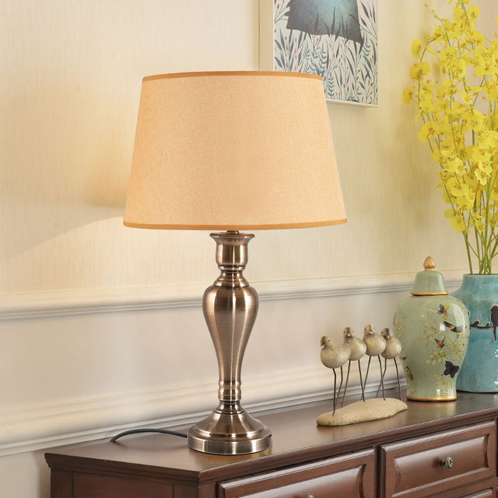 "25"" Antique Brass Table Lamp with LED Bulb"