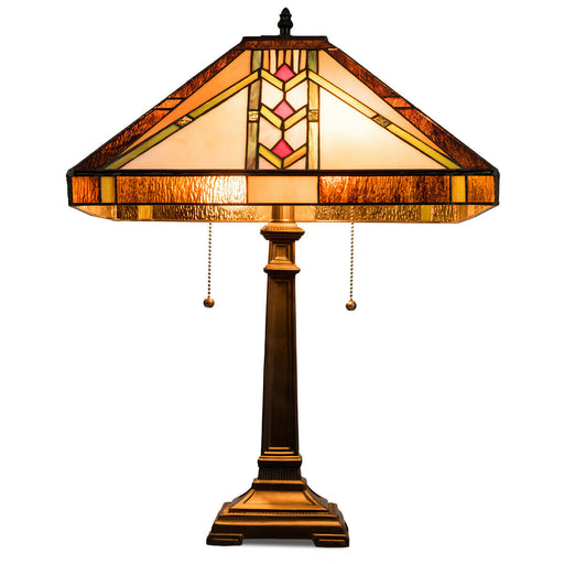 "Tiffany-Style 2-Light Table Lamp w- 16"" Glass Lampshade"