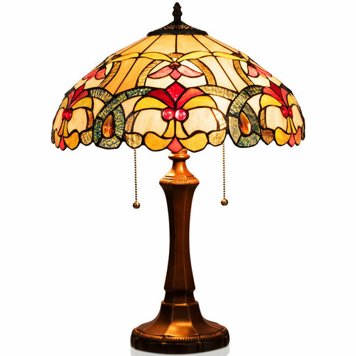 "Tiffany-Style Victorian 2-Light Table Lamp with 16"" Stained Shade"