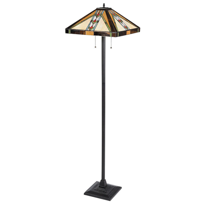 "Tiffany-Style 2-Light Standing Lamp w- 18"" Wide Shade"