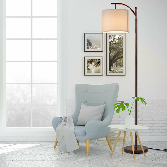 Standing Industrial Arc Light with Hanging Lamp Shade Bedroom
