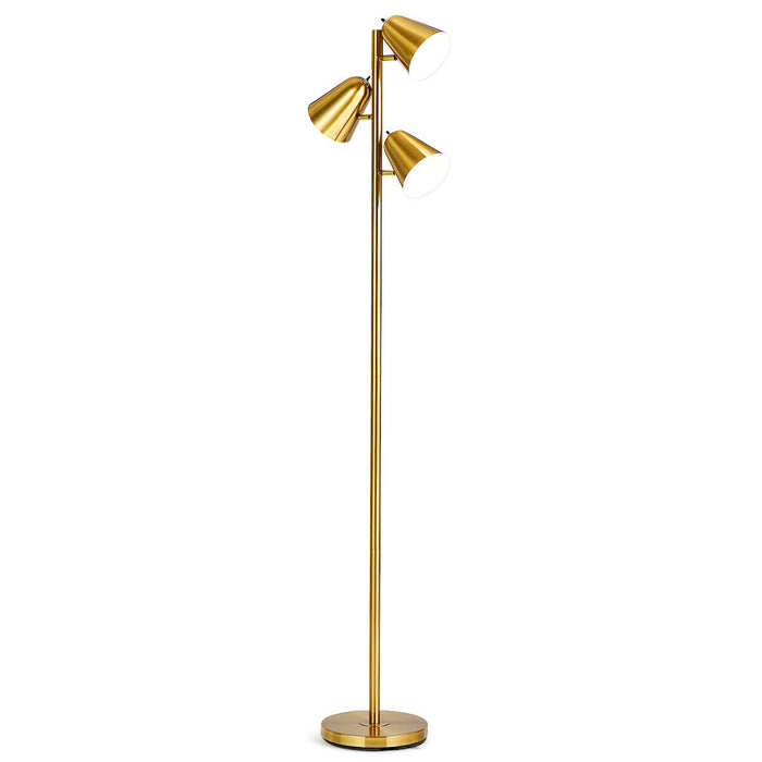 "64"" Antique Brass 3 Light LED Reading and Floor Lamp"