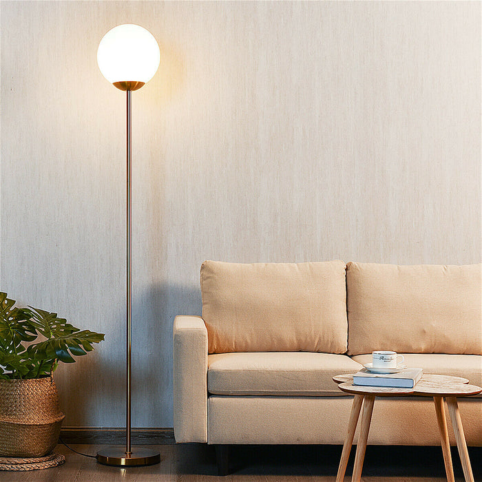 "67"" Frosted Glass Globe Floor Lamp 9W LED Bulb"
