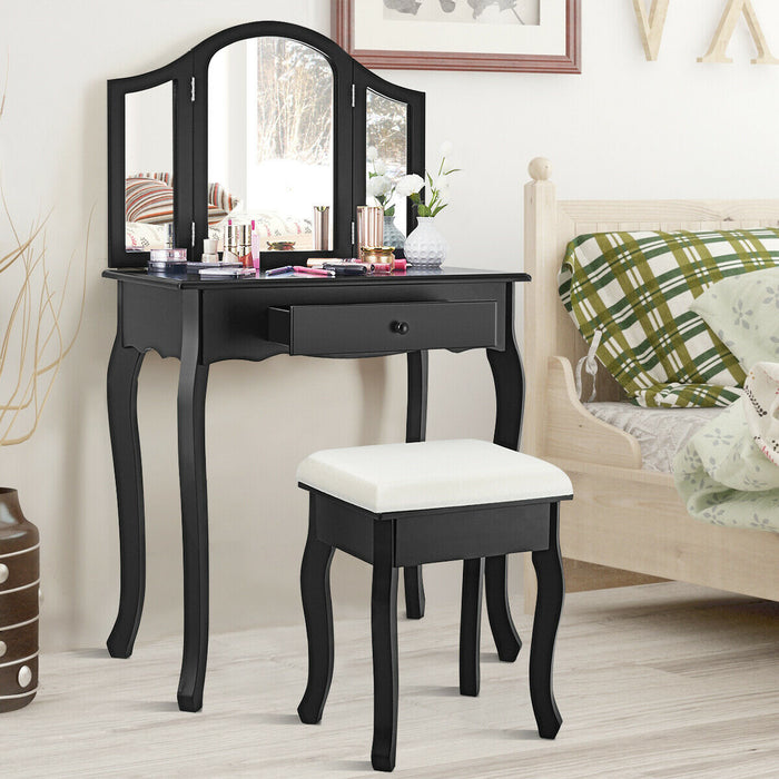 Vanity Makeup Dressing Table with Tri-Folding Mirror & Drawer-Black-White