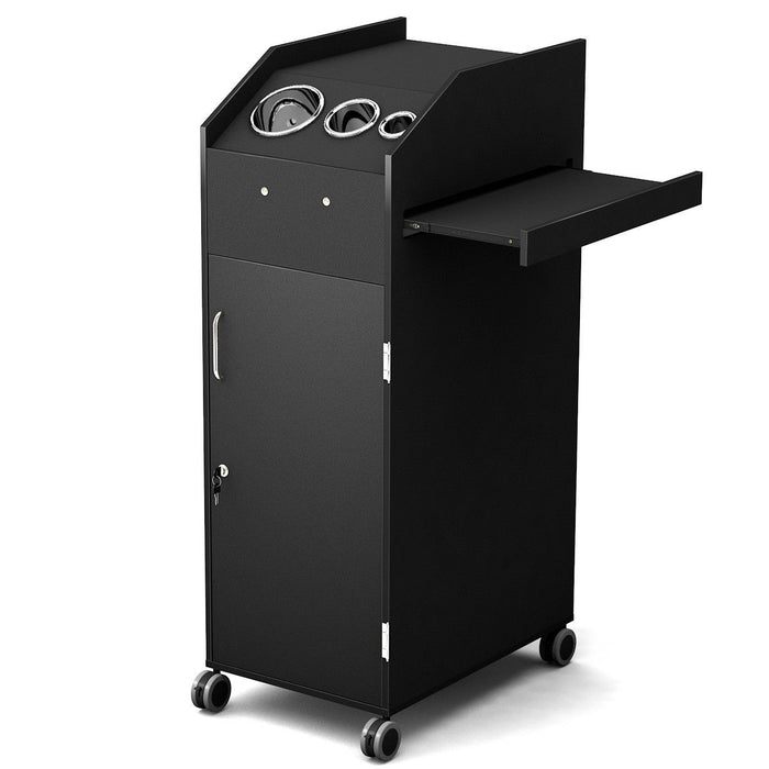 Black Salon Trolley Cart with 4 Storage Trays