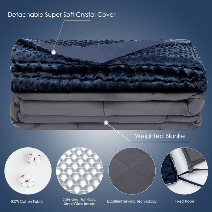 15lbs Weighted Blanket with Removable Soft Crystal Cover