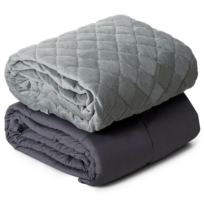 15lbs 100% Cotton Weighted Blanket with Soft Crystal Cover