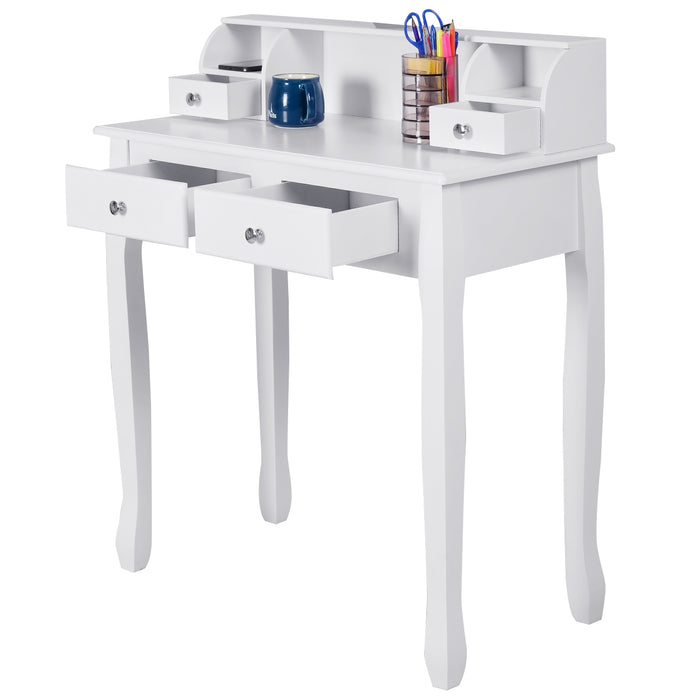 White Vanity Makeup Dressing Table with 4 Drawers