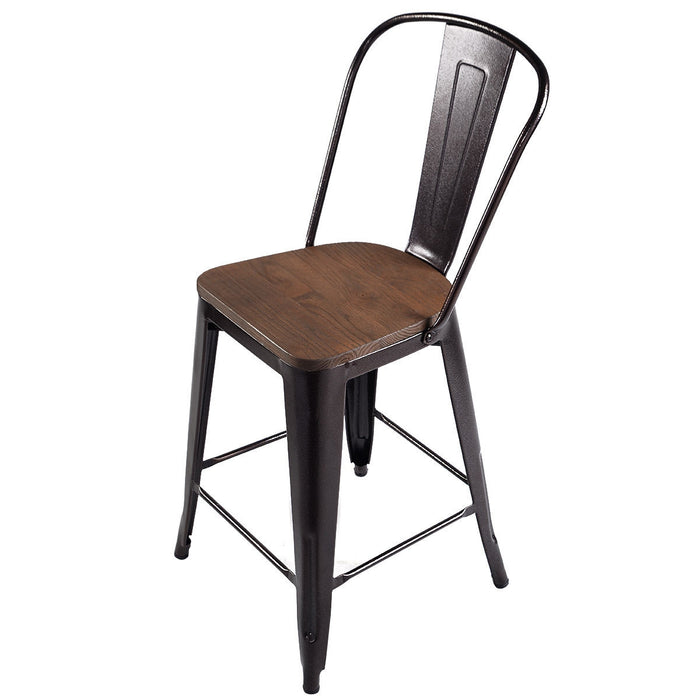 Copper 2-Set Metal Wood Counter Stool Rustic Dining Chairs