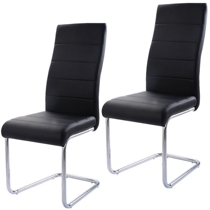 Set of 2 Black High-Back Dining Chairs