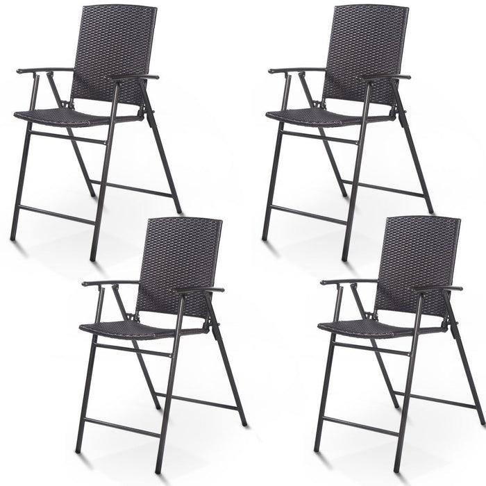 4 pcs Rattan Wicker Folding Chairs
