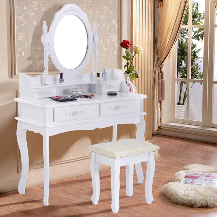 "White Vanity Makeup Dressing Table with Mirror + 4 Drawers 35.4"" x 14.2"" x 56.3"""