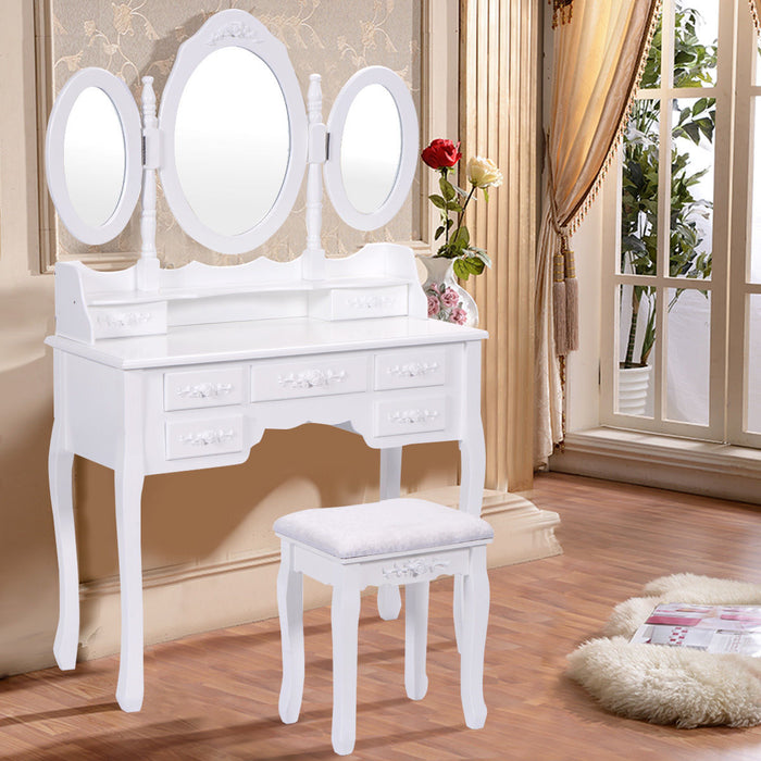 Vanity Makeup Dressing Table with Tri Folding Mirror and 7 Drawers