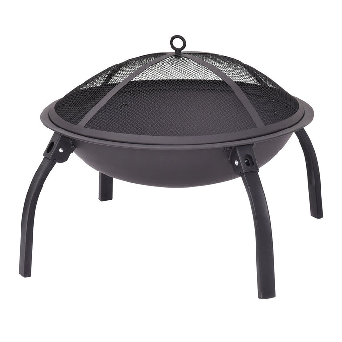 "22"" Outdoor Metal Firepit Backyard Patio Round Stove"