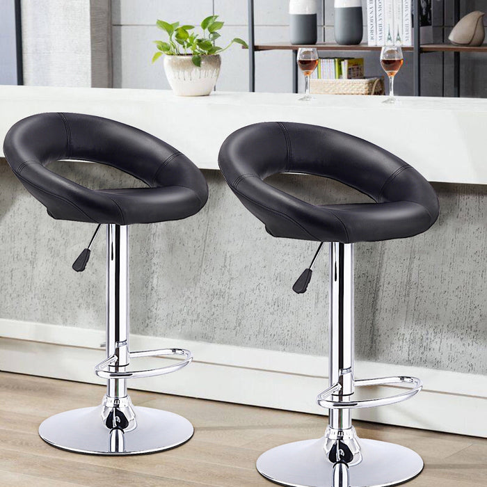 Set of 2 Adjustable Swivel Bar Stools Pub Chairs