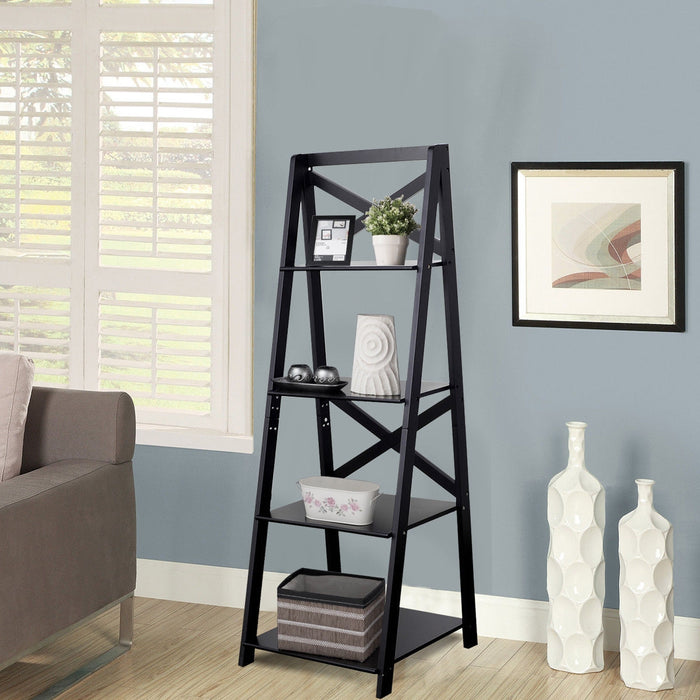 4-Tier Leaning Free Standing Ladder Shelf Bookcase