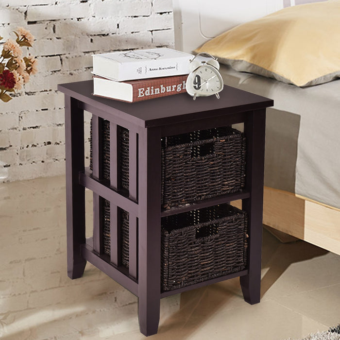 Wooden Sofa End Side Table with 2 Storage Baskets