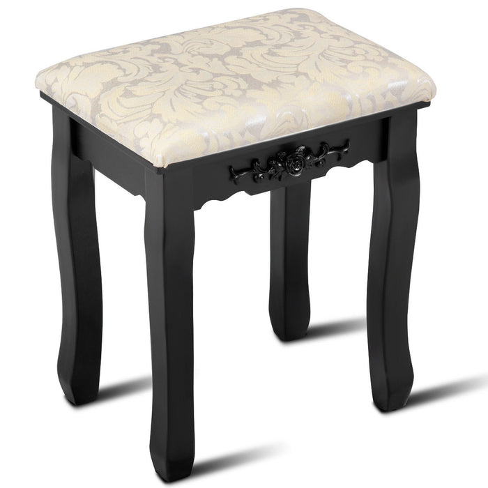 Wood Cushioned Makeup Dressing Stool