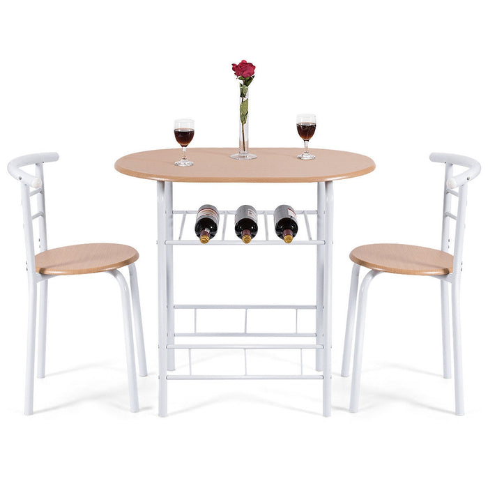 3 pcs Home Kitchen Bistro Pub Dining Table 2 Chairs Set