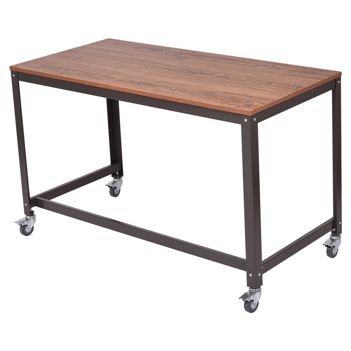 Wood Top Metal Frame Rolling Computer Desk Laptop Table