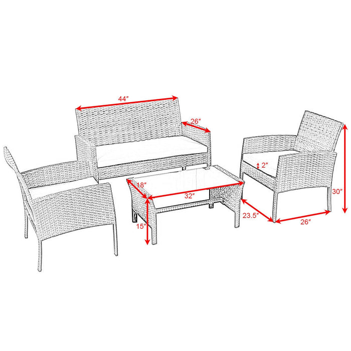 4 pcs Patio Garden Furniture Wicker Rattan Sofa Set