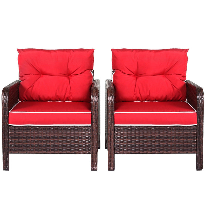 4 pcs Outdoor Rattan Wicker Loveseat Furniture Set with Cushions