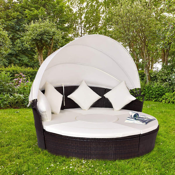 2-in-1 Outdoor Round Rattan Canopy Cushioned Furniture Set