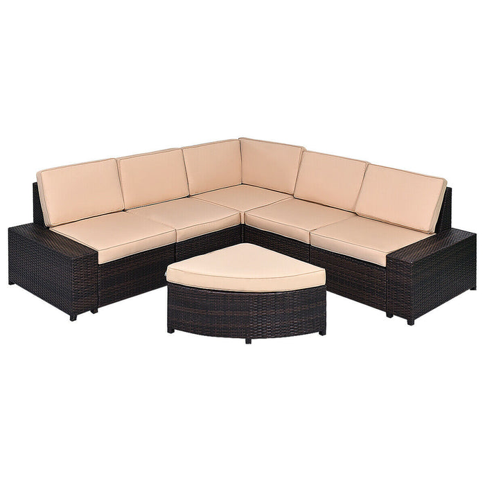 6 PCS Patio Furniture Set Rattan Wicker Table Shelf
