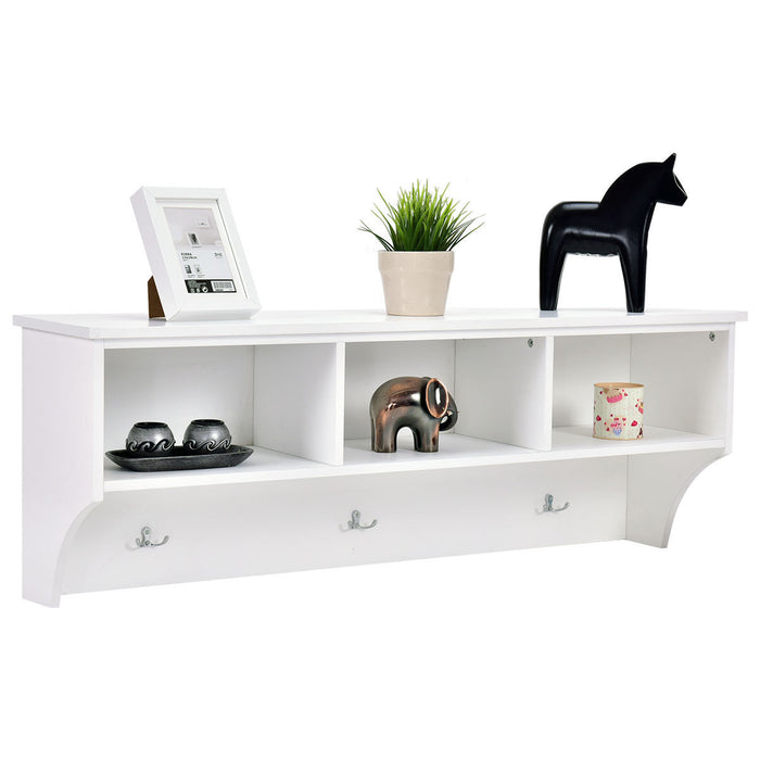 "48"" Entryway Cubbie Wall Mounted Storage Shelf with Hooks"