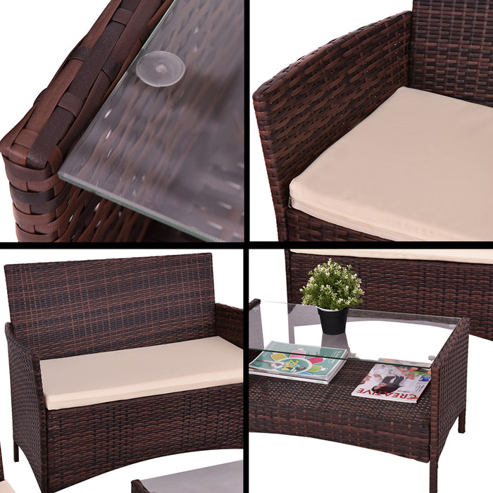 4 pcs Outdoor Patio Rattan Table Sofa Set with Cushions