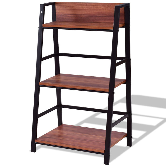 3-Tier Home Office Ladder Shelf Bookshelf Plant Display Stand Storage Shelves