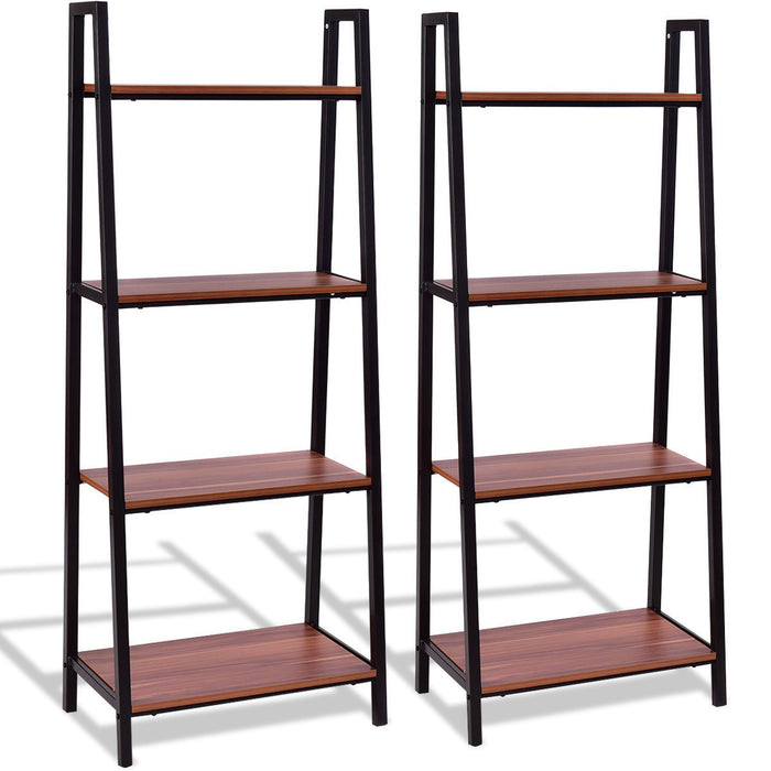 2 pcs 4-Tier Modern Ladder Bookshelf