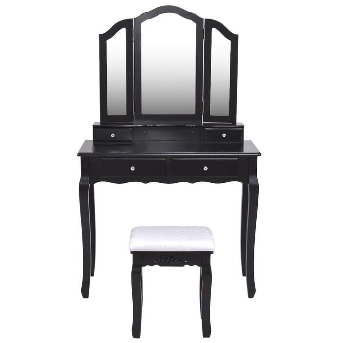 Tri Folding Mirror Vanity Table Stool Set with 4 Drawers