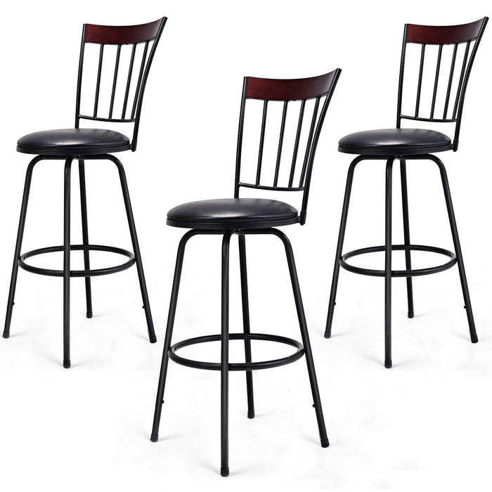 Set of 3 Steel Frame PU Leather Swivel Bar Stools