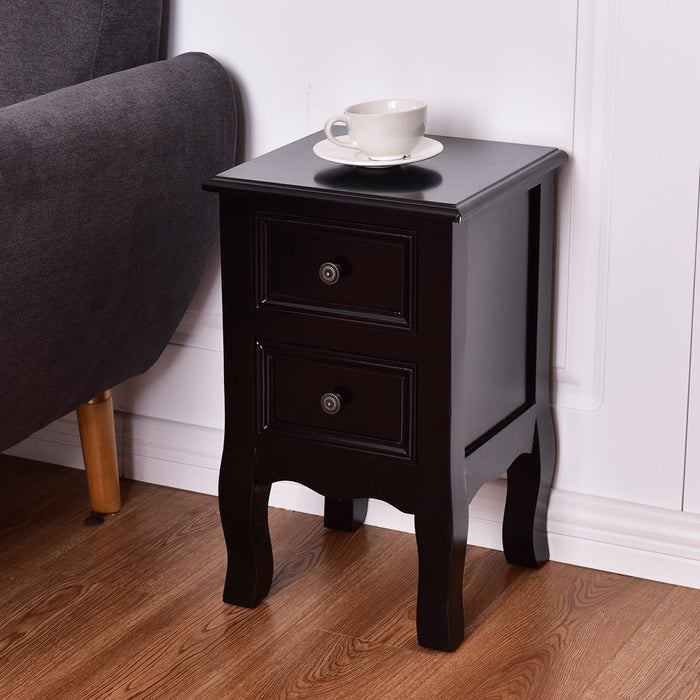 Wood Accent End Nightstand w- 2 Storage Drawers
