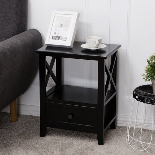 2 pcs Living Room End Side Nightstands with Storage Drawer