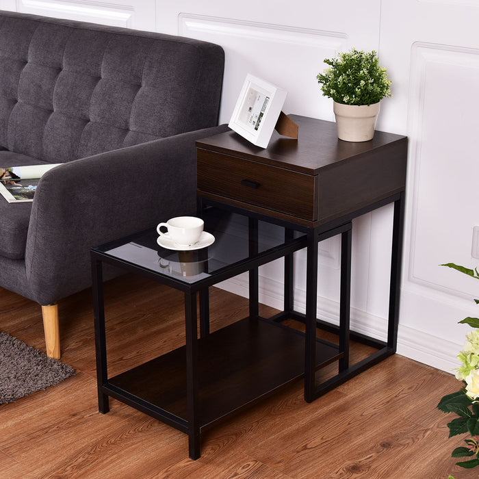 2 pcs Metal Frame Wood Glass Top Nesting Side Table