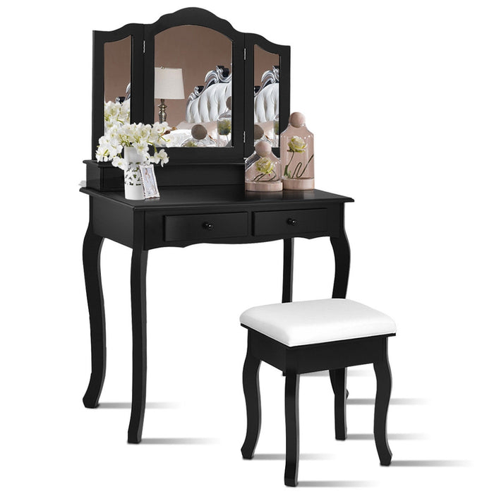 4 Drawers Wood Mirrored Vanity Dressing Table with Stool