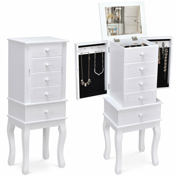 Wood Freestanding Armoire Storage Jewelry Cabinet
